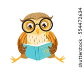 owl reading the book cute... | Shutterstock .eps vector #554472634