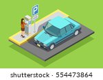 parking isometric template with ... | Shutterstock .eps vector #554473864