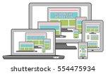 responsive design concept on... | Shutterstock . vector #554475934