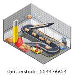 automatic robotic warehouse... | Shutterstock .eps vector #554476654