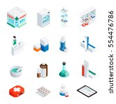 set of isometric icons with... | Shutterstock .eps vector #554476786