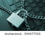 cyber safety concept  locked... | Shutterstock . vector #554477533