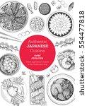 japanese cuisine top view frame.... | Shutterstock .eps vector #554477818
