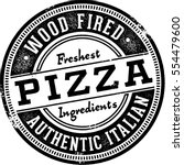 wood fired pizza sign for... | Shutterstock .eps vector #554479600