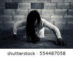 ghost woman in haunted house   Shutterstock . vector #554487058