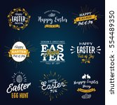 easter labels. vintage happy... | Shutterstock .eps vector #554489350