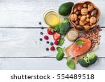 selection of healthy food for... | Shutterstock . vector #554489518
