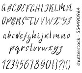 hand drawn font made by dry... | Shutterstock .eps vector #554490964