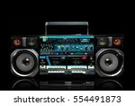radio boom box on black... | Shutterstock . vector #554491873