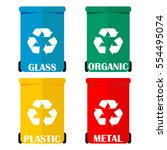 different colored recycle waste ... | Shutterstock .eps vector #554495074