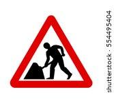 uk road work sign. under... | Shutterstock .eps vector #554495404