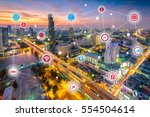 smart city and wireless... | Shutterstock . vector #554504614