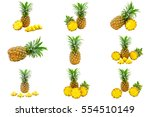 isolated set of pineapples... | Shutterstock . vector #554510149