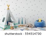 mock up wall in child room... | Shutterstock . vector #554514730