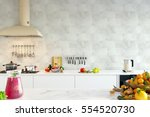mock up wall interior. wall art.... | Shutterstock . vector #554520730