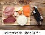 protein diet  fish  cheese ... | Shutterstock . vector #554523754