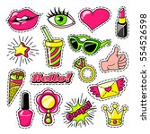 elements for girls in comic... | Shutterstock .eps vector #554526598