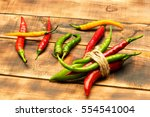 colorful fresh spicy chili... | Shutterstock . vector #554541004