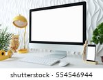 mock up screen devices in... | Shutterstock . vector #554546944