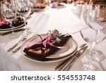 elegant wedding reception table ... | Shutterstock . vector #554553748