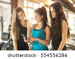 group of sporty female friends... | Shutterstock . vector #554556286