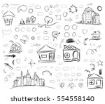 a set of doodle line drawings... | Shutterstock .eps vector #554558140