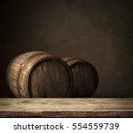 Wooden Oak Barrel Isolated On...