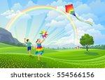 Children Flying Kites On The...