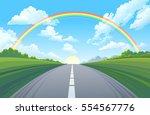 rainbow over the highway  the... | Shutterstock .eps vector #554567776