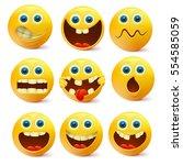 yellow smiley faces. emoji...   Shutterstock .eps vector #554585059