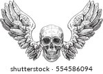 skull and wings in engraving... | Shutterstock .eps vector #554586094