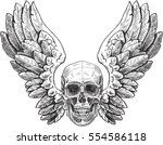 skull and wings. can use like... | Shutterstock .eps vector #554586118