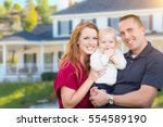 happy young military family in... | Shutterstock . vector #554589190