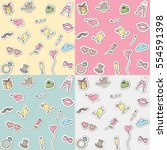 seamless romantic pattern. love ... | Shutterstock .eps vector #554591398