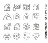 smart home system icons thin... | Shutterstock .eps vector #554591713