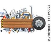 vector wooden board with truck... | Shutterstock .eps vector #554597728
