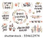 valentine's day hand drawn... | Shutterstock .eps vector #554612974