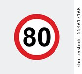 traffic sign speed limit 80 | Shutterstock .eps vector #554617168