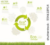 the tree on the recycling... | Shutterstock .eps vector #554618914