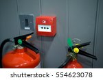 Fire Alarm Box On Wooden Grey...