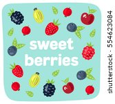 vector cute berries. | Shutterstock .eps vector #554623084