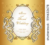vintage invitation and wedding... | Shutterstock .eps vector #554632678