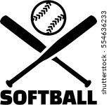 softball with crossed bats and...   Shutterstock .eps vector #554636233