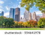 manhattan buildings in foliage... | Shutterstock . vector #554641978