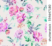 abstract watercolor floral... | Shutterstock . vector #554647180