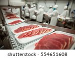 slices of thin meat cutlets on... | Shutterstock . vector #554651608