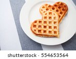 Heart Shaped Waffles On The...