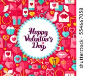 valentines day postcard. flat... | Shutterstock .eps vector #554667058