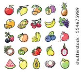 watercolor icons of fruits... | Shutterstock .eps vector #554675989