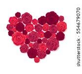 rose heart isolated on white... | Shutterstock .eps vector #554679070